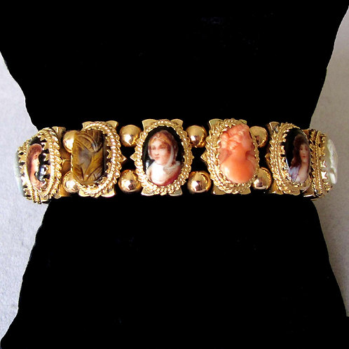 14K Slide Bracelet with Portraits and Cameos