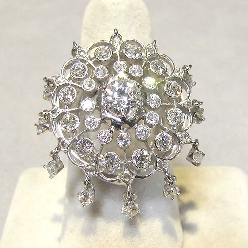 "White Gold and Diamond ""Parasol"" Ring with Dangles"