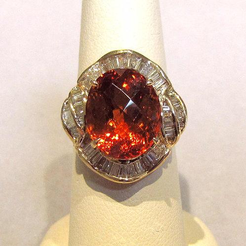 Yellow Gold Diamond and Orange Citrine Ring