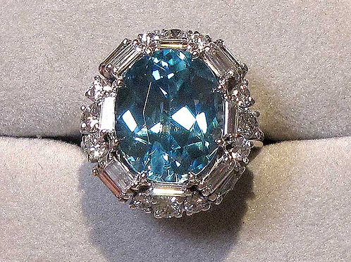 Large Blue Zircon and Diamond Ring in White Gold