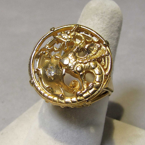 Victorian 14K & Diamond Dragon Ring