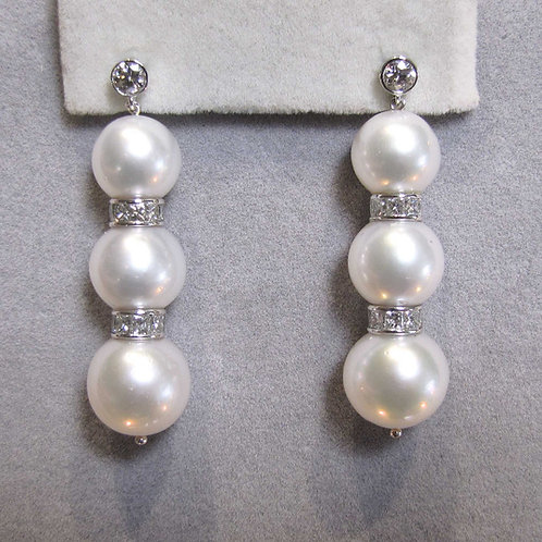 Large Graduated South Sea Pearl and Diamond Drop Earrings