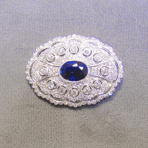 Art Deco Style Diamond and Sapphire Brooch