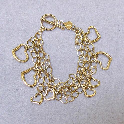18K Multi-Strand Bracelet with Freeform Heart Charms