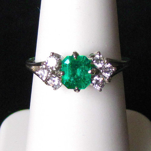 18K White Gold Emerald and Diamond Accent Ring