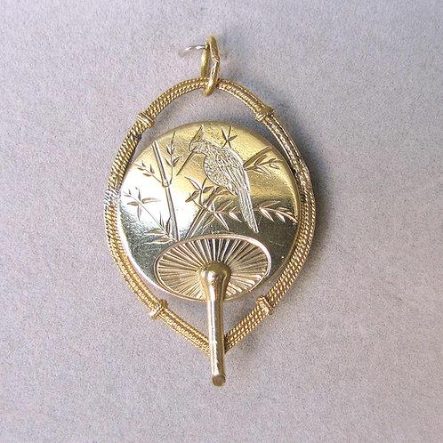 Antique 14K Engraved Oriental Fan Locket
