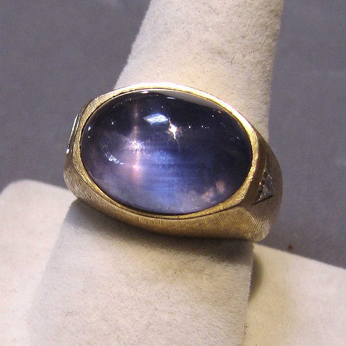 Vintage Large Oval Blue Star Sapphire and Diamond Ring