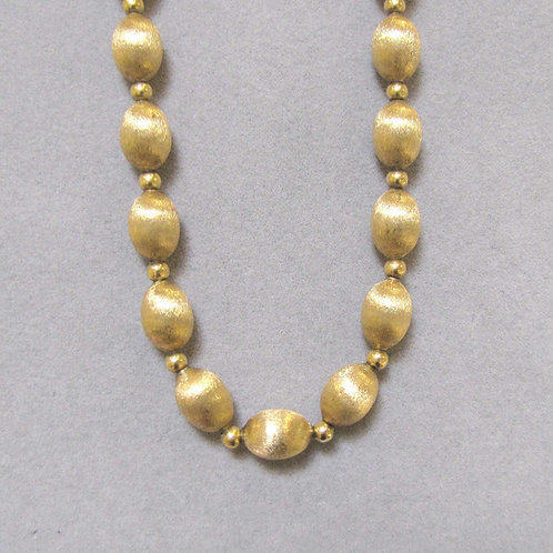 14K Brushed and Polished Bead Necklace