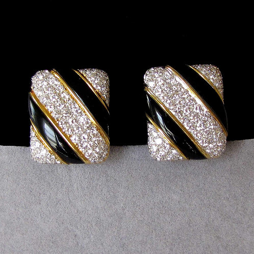 18K Diamond and Onyx Diagonal Pattern Earrings