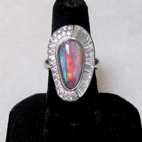 Fine Platinum Black Opal and Diamond Ring