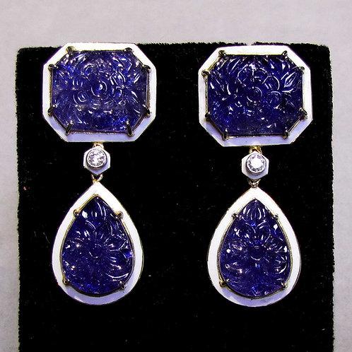 Carved Tanzanite, Diamond and White Enamel Drop Earrings