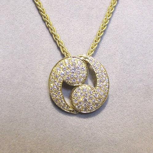 "Large 18K Diamond ""Yin-Yang"" Design Pendant"