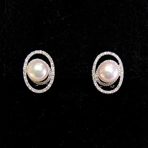 Contemporary White Gold Pearl and Diamond Earrings