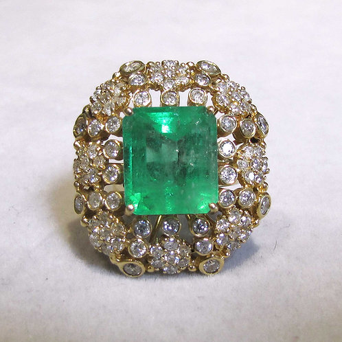 Fancy Large Emerald and Diamond Cocktail Ring