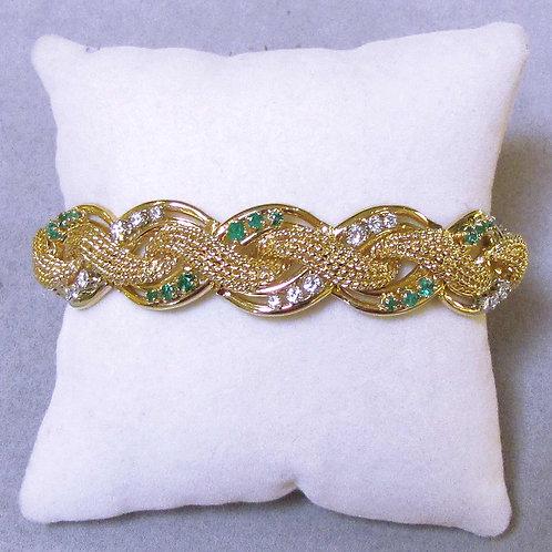 18K Braided Design Diamond and Emerald Bracelet