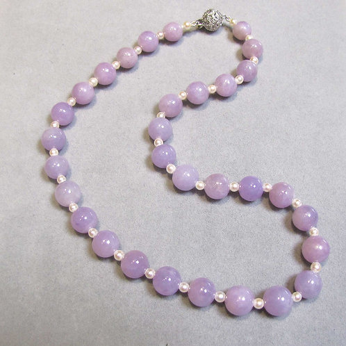 Lavender Jade and Pearl Necklace