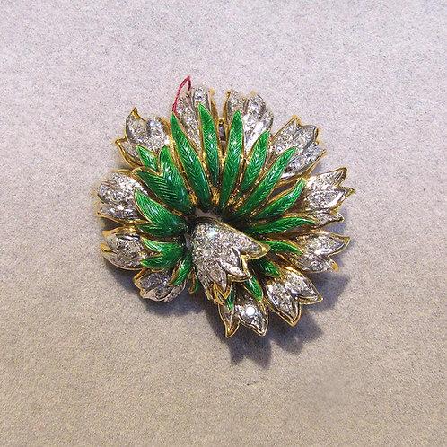 Fancy 18K Diamond and Green Enamel Stylized Flower Brooch