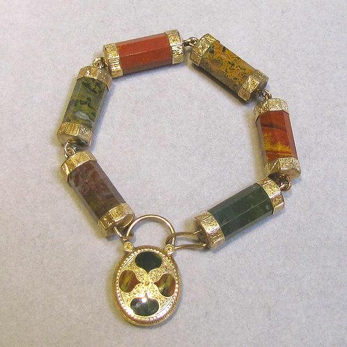 Antique Scottish Multicolor Jasper Locket Charm Bracelet