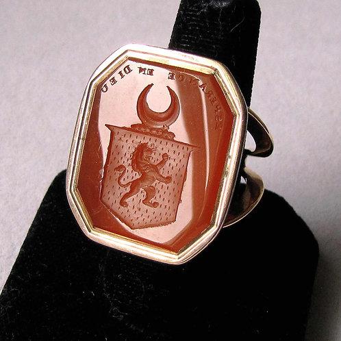 Antique Victorian Rose Gold Carnelian Intaglio Ring