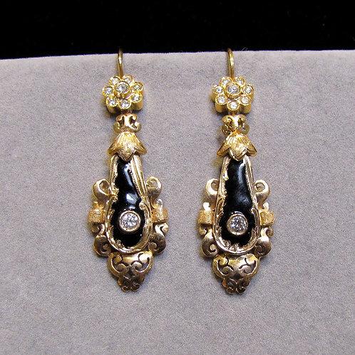18K Diamond and Black Enamel Drop Earrings