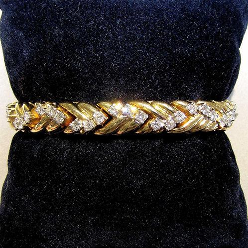 14K Diamond Chevron Link Line Bracelet