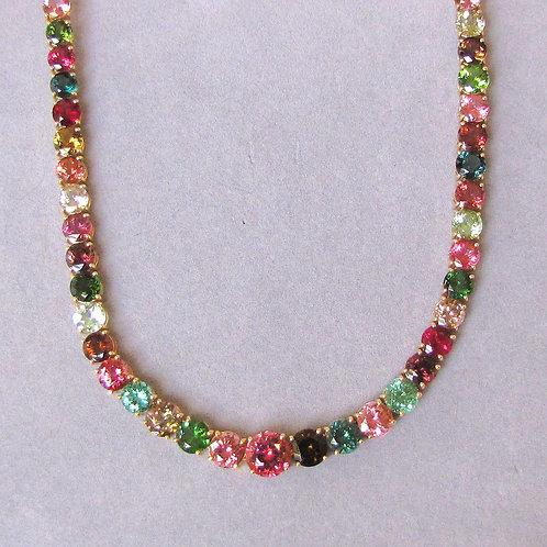 Exceptional 14K Multicolor Tourmaline Necklace
