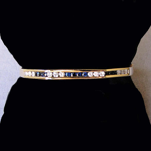 Modern 14K Channel Set Diamond and Sapphire Hinged Bangle Bracelet