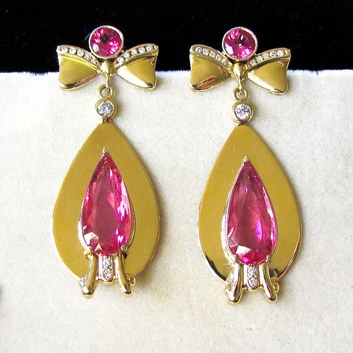 18K Pink Tourmaline Drop Earrings with Bow Tops