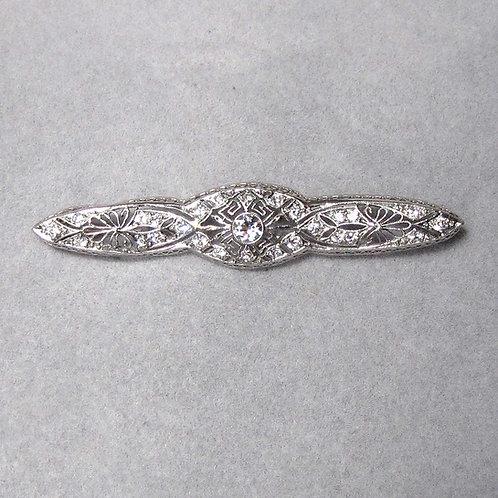 Art Deco 18K White Gold and Diamond Filigree Bar Pin