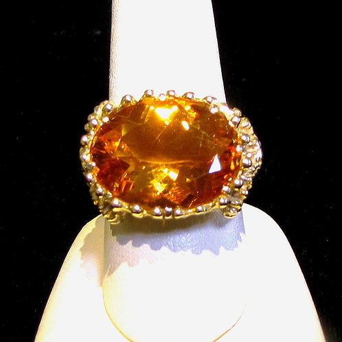14K Large Citrine Ring with Ram's Head Details