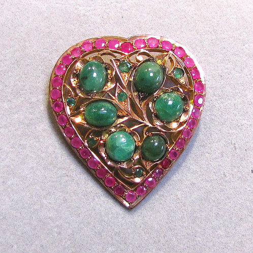 Indian Rose Gold Emerald and Pink Sapphire Heart Pin / Pendant