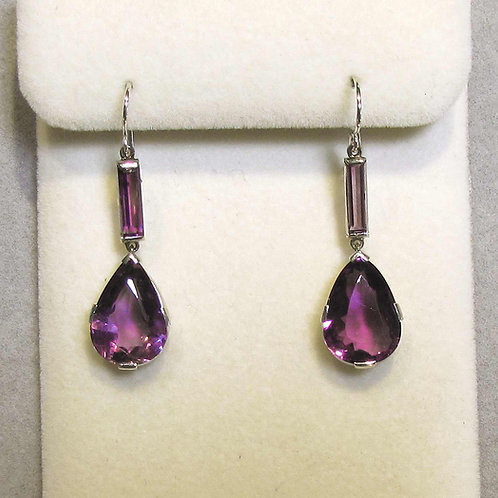 Long White Gold Amethyst Drop Earrings