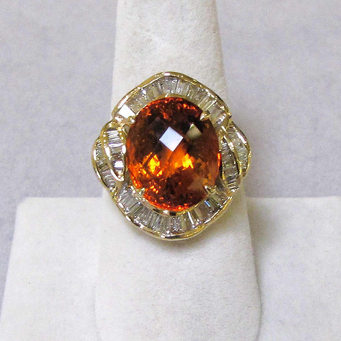 Yellow Gold Diamond and Orange Citrine Ring