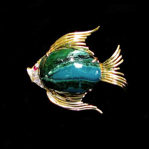 18K Azurmalachite and Diamond Fish Pin
