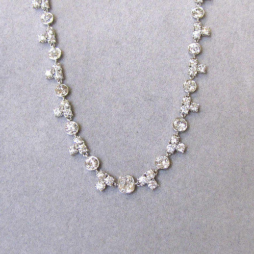 Antique Platinum Diamond Riviere Necklace