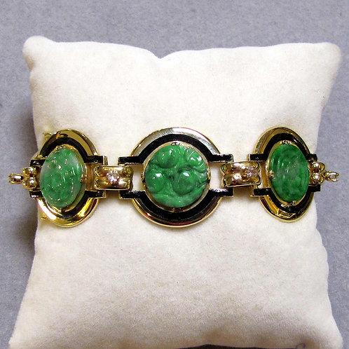14K Carved Green Jade, Diamond and Enamel Bracelet