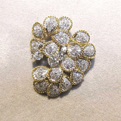 18K and Platinum Diamond Freeform Cluster Brooch
