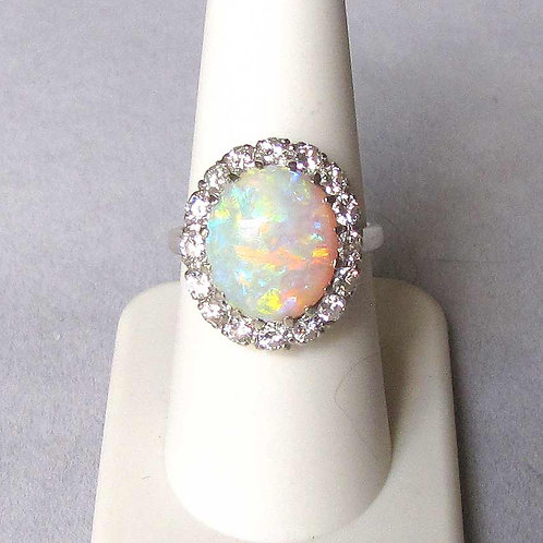 White Gold Oval Opal and Diamond Ring