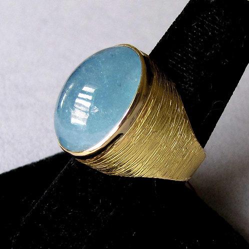 Modern Textured 18K Cabochon Cut Aquamarine Ring