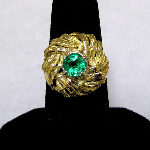 18K Round Emerald Spiral Top Ring
