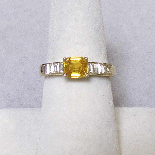 18K Emerald Cut Yellow Sapphire and Diamond Ring