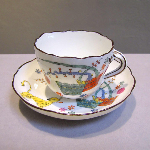 Meissen Teacup and Saucer with Tiger