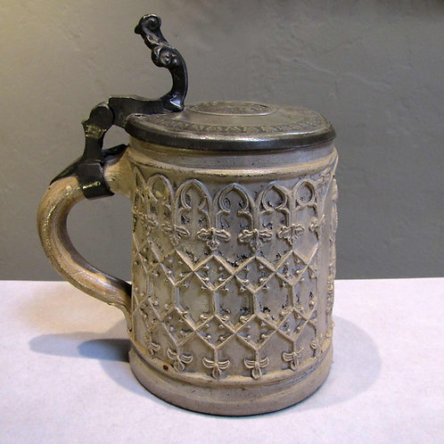 Antique Early 19th Century German Stoneware and Pewter Beer Stein
