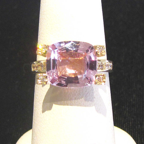 14K Pink Topaz and Diamond Contemporary Ring