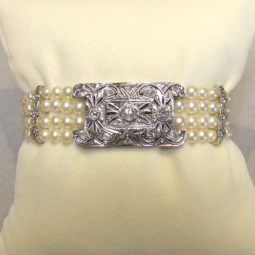 Antique White Gold and Diamond Plaque on Four Strand Pearl Bracelet