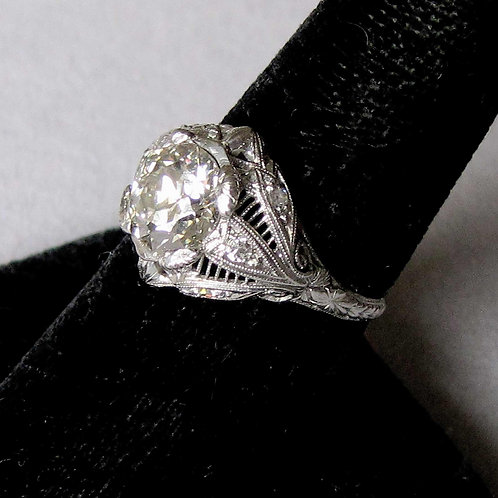 Antique Edwardian Filigree Ring with 1.86 ct. Old Mine Cut Diamond