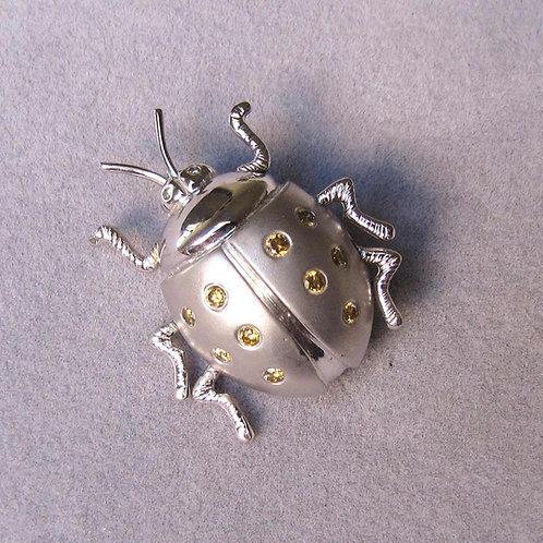 White Gold and Yellow Diamond Ladybug Pin