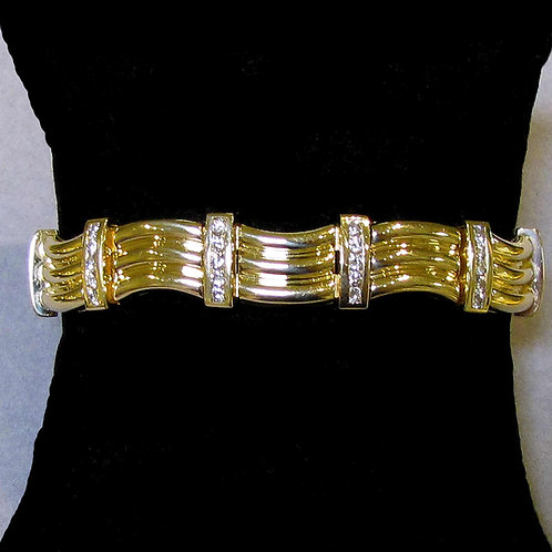 14K Wavy Link Diamond Bracelet