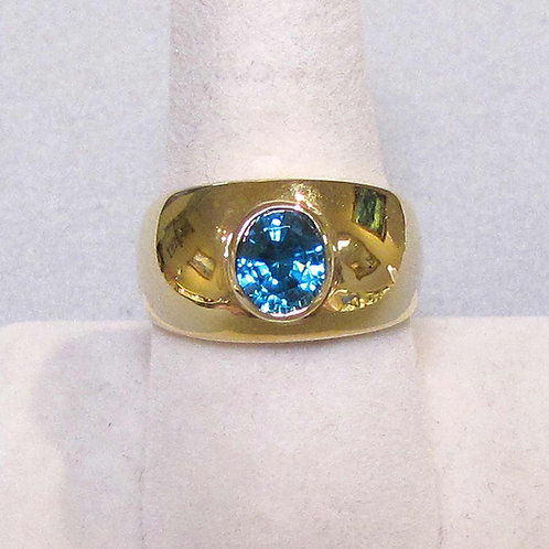 14K Oval Blue Zircon Wide Domed Band Ring