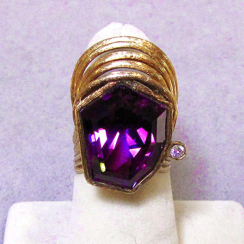 14K Custom Cut Amethyst and Diamond Accent Ring
